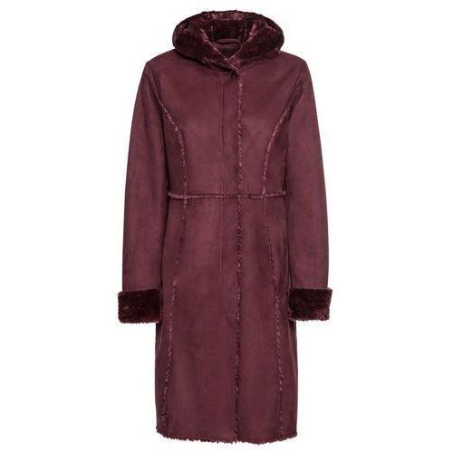 Płaszcz ze sztucznego futerka owczego bonprix czerwony klonowy, poliester