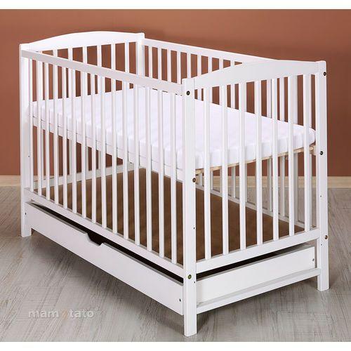 łóżeczko dla niemowląt maja 60x120 cm z szufladą - białe marki Mamo-tato