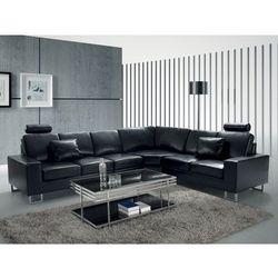 Stylowa sofa kanapa z czarnej skóry naturalnej narożnik STOCKHOLM