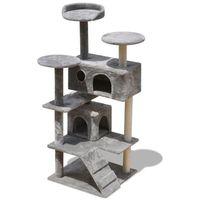 vidaXL Szary drapak dla kota: 2 domki, drapaki, legowiska 126 cm (8718475940517)