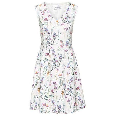 Sukienka z dżerseju bonprix biel wełny w kwiaty, kolor biały