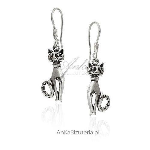 Kolczyki srebrne kotki