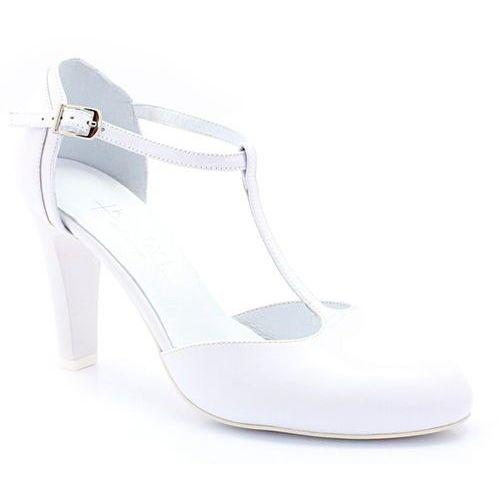Kotyl 5879 białe - ślubne, taneczne, skóra - biały
