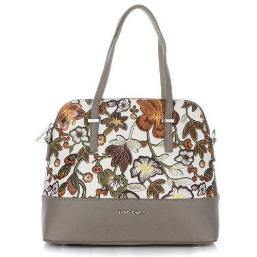 Oryginalne torebki damskie kuferki we wzór kwiatów brązowe (kolory) (David Jones)