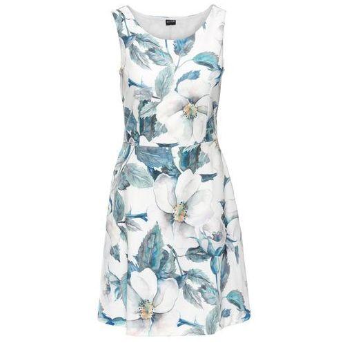 Sukienka z dżerseju z kwiatowym nadrukiem bonprix biel wełny - niebieski z nadrukiem