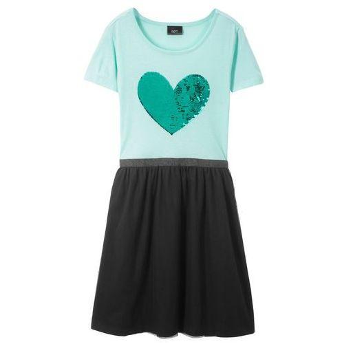 a6b18211ec Zobacz ofertę Bonprix Sukienka z dwustronnymi cekinami pastelowy miętowy -  czarny