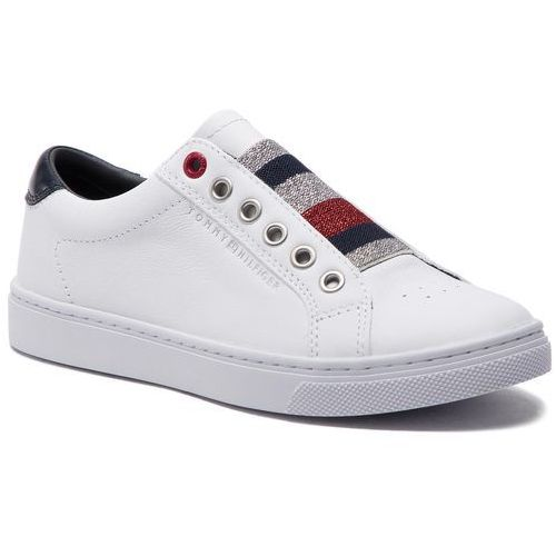 d78a7c0c22304 Tommy Hilfiger Sneakersy TOMMY HILFIGER - Tommy Elastic Essential Sneaker  FW0FW03707 White 100, kolor biały