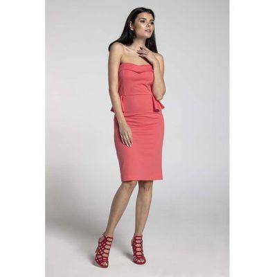 404176dd06 Malinowa koktajlowa sukienka gorsetowa z półbaskinką marki Nommo MOLLY