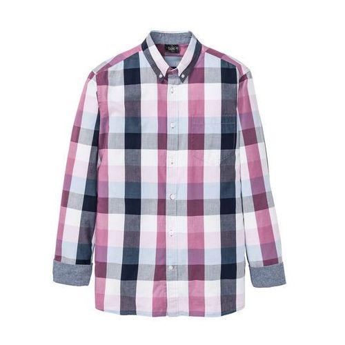Koszula z długim rękawem bonprix jasnoniebiesko-bladoróżowo-ciemnoniebiesko-biały w kratę, kolor niebieski