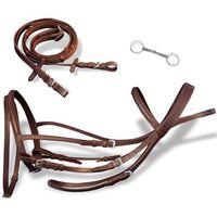 Vidaxl skórzane ogłowie dla konia z wędzidłem i wodzami, brązowe (8718475944959)