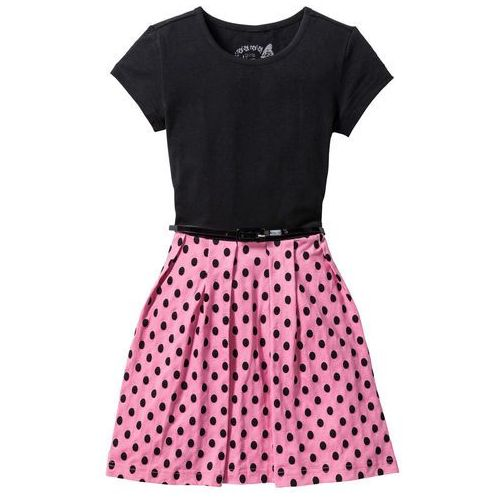96c16d6c95de0 ▷ Sukienka z paskiem czarno-jaskrawy jasnoróżowy (bonprix) - opinie ...