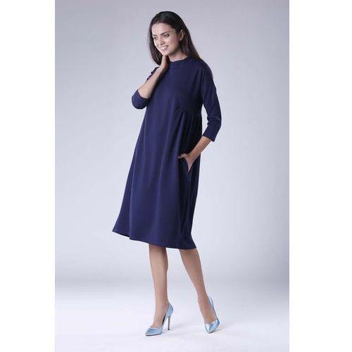 fb7bfe7960 Zobacz ofertę Granatowa Oversizowa Casualowa Sukienka z Dekoracyjnym  Marszczeniem
