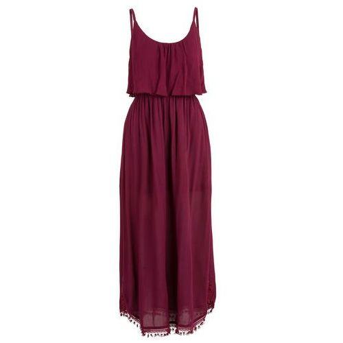 Sukienka z falbaną bonprix czerwony klonowy, kolor czerwony
