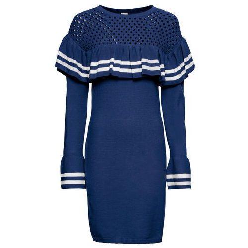 38cebb61e1 Sukienka dzianinowa z rękawami z falbanami bonprix błękit królewski - biały  - Foto