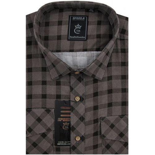 4e47fe83ac46b8 Koszula Męska Speed.A sztruksowa brązowa w kratkę na długi rękaw duże  rozmiary D947,