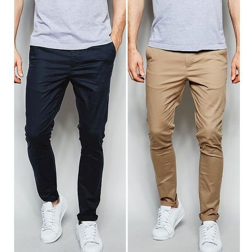 2 pack super skinny chinos in navy & stone save - multi Asos