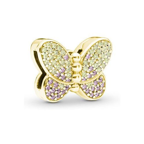 Pozłacany srebrny charms pandora koralik reflexions motyl butterfly cyrkonie srebro 925 bead194y marki Valerio.pl