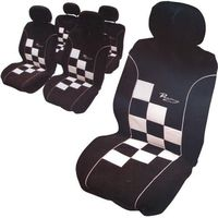 CarPoint pokrowce na siedzenia - Racing, czarno-biała szachownica