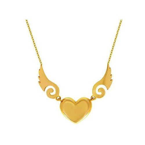 892673131c38ee Naszyjnik złoty serce i skrzydła anioła - 2,90g, kolor żółty - sklep ...