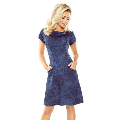 1bca25d6b3 Granatowa Sukienka Trapezowa z Wsuwanymi Kieszeniami