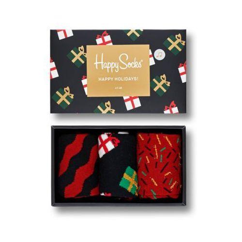 Happy socks Skarpetki giftbox happy holidays 3 pak xmas08 7001  czarny czerwony