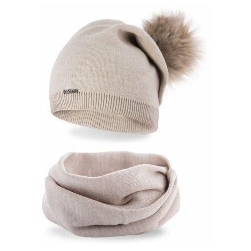 Pamami Komplet , czapka i komin - beżowy