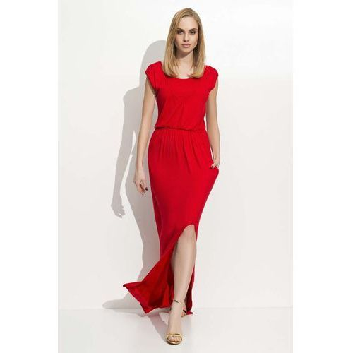 ea63c6202b95b1 Czerwona maxi sukienka z rozcięciem na boku marki Makadamia - Foto Czerwona  maxi sukienka z rozcięciem