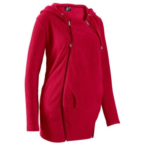 Bluza z polaru ciążowa, z wstawką niemowlęcą na nosidełko ciemnoczerwony marki Bonprix