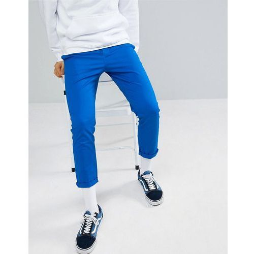 Design slim cropped chinos in bright blue - blue, Asos