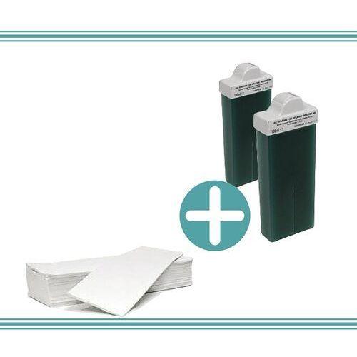 Zestaw do depilacji - 2x wosk azulenowy + paski cięte - Super oferta
