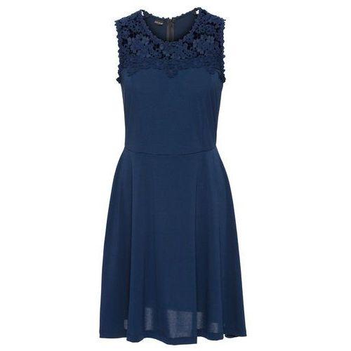 Bonprix Sukienka z dżerseju z koronką ciemnoniebieski