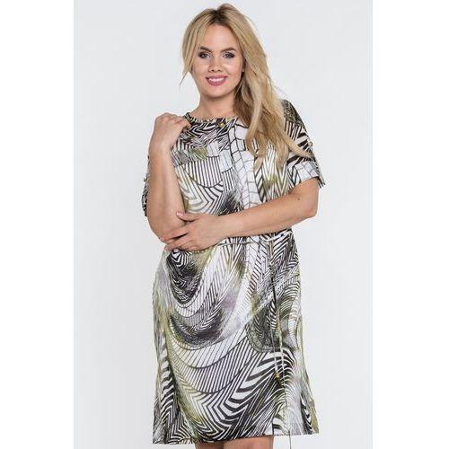 600605e492 Sukienka w roślinny motyw - Potis  amp  Verso
