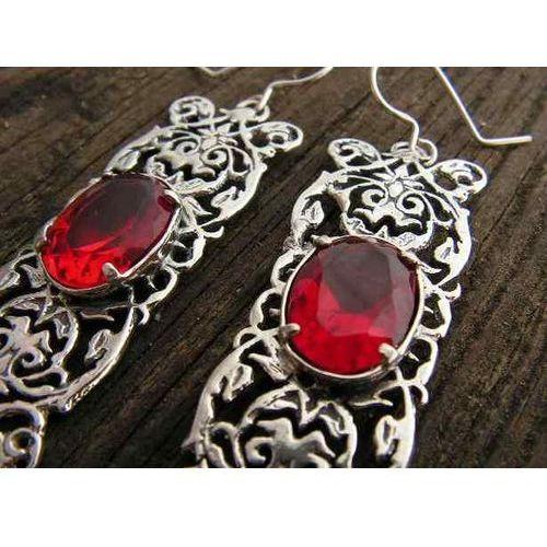 SABOTINI - srebrne kolczyki z rubinem, kolor czerwony