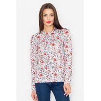 Ecru klasyczna bluza w kolorowe kwiaty