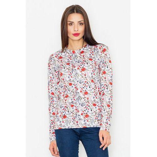 Ecru klasyczna bluza w kolorowe kwiaty, 1 rozmiar