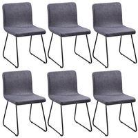 vidaXL 6 materiałowych krzeseł do jadalni z żelaznymi nogami, ciemnoszarych Darmowa wysyłka i zwroty