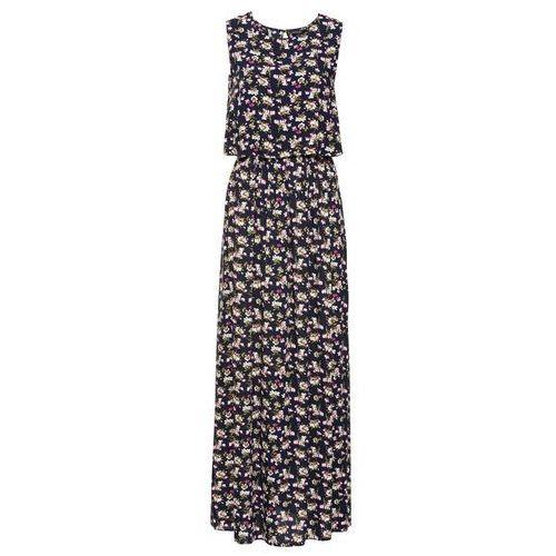 Długa sukienka w kwiaty bonprix ciemnoniebieski w kwiaty, kolor niebieski