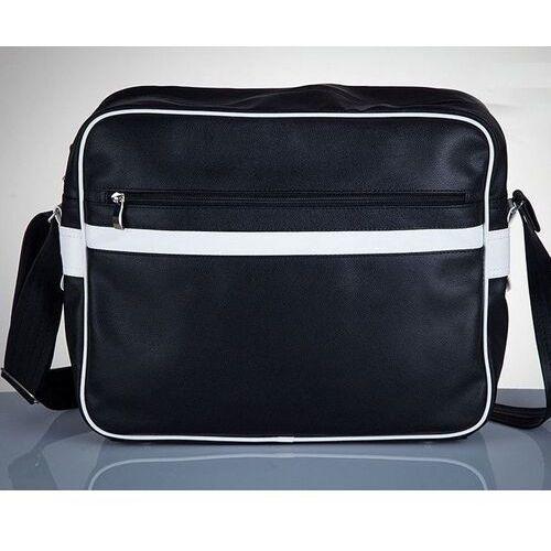Solier Stylowa torba męska na ramię messenger by solier ms01 czarno - biała
