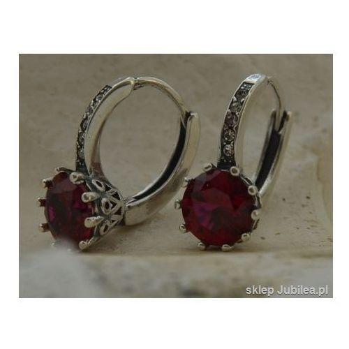 LIZBONA - srebrne kolczyki z rubinem i kryształk, kolor czerwony