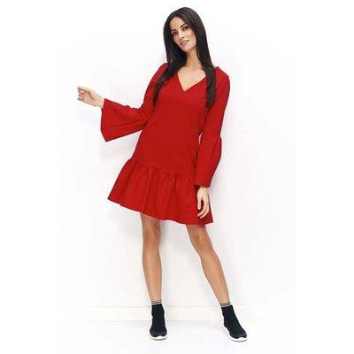 118dd10121 Czerwona sukienka z falbanką na dole i poszerzonymi rękawami marki  Makadamia MOLLY