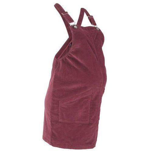 Sukienka ogrodniczka ciążowa sztruksowa czerwony klonowy marki Bonprix