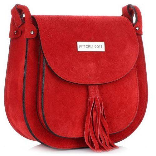 f7d0a521e146c Uniwersalne Torebki Listonoszki Skórzane Vittoria Gotti Czerwone (kolory),  kolor czerwony