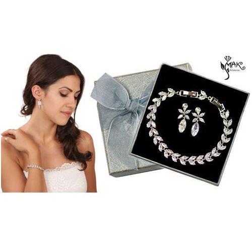 Kpl878 komplet ślubny, biżuteria ślubna z cyrkoniami b599/424 k599/562