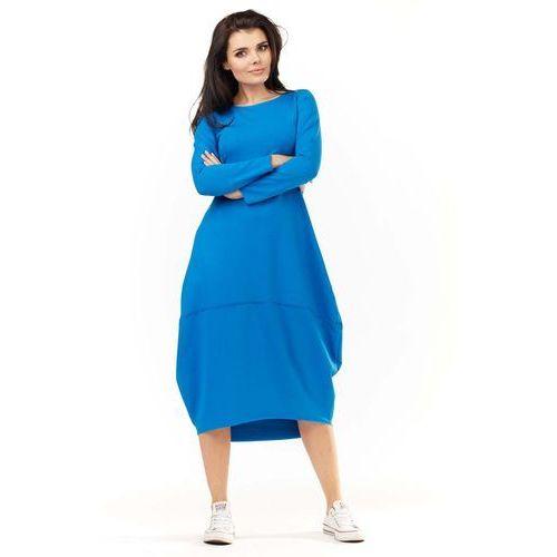 22c34e12cb Niebieska Dzianinowa Midi Sukienka Bombka z Długim Rękawem