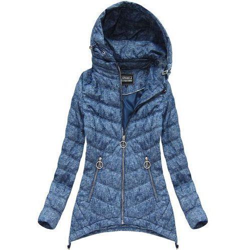 76435539f A Pikowana kurtka z kapturem niebieska (w714big) - niebieski Speed.a