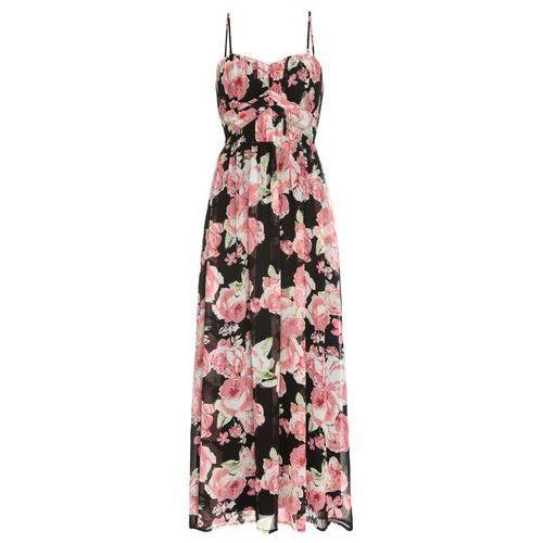 c40c3b8285 Długa sukienka szyfonowa bonprix czarny w kwiaty