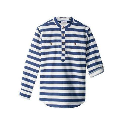 450aaad477cb0a Zobacz w sklepie Koszula z wywijanymi rękawami, Slim Fit bonprix niebiesko-biały  w paski