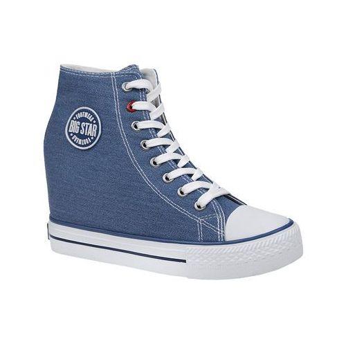 Trampki BIG STAR U274901 Niebieskie na koturnie - Niebieski ||Biały, kolor niebieski