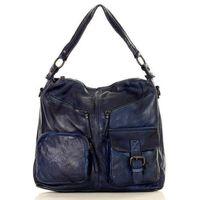 Niebieska włoska torebka skórzana na ramię pockets