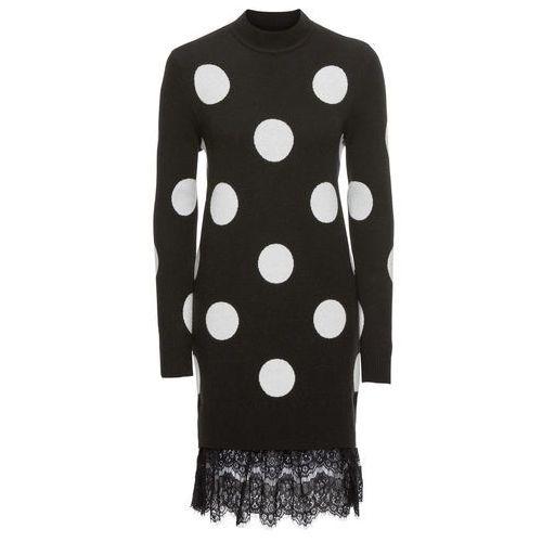 Sukienka dzianinowa z koronkową wstawką bonprix czarno-biały